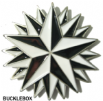 EXPLODING NAUTICAL STAR BLACK/WHITE Belt Buckle + display stand. Code TG2